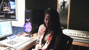 LaToya Wilson, songwriter in studio in St. Louis,