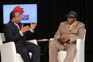 Roland Martin on set of his show, NewsOne Now with Holywood director, Bill Duke.