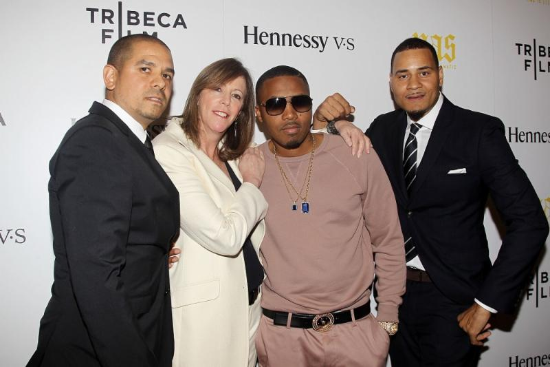 One 9, Jane Rosenthal, Nas and Erik Parker on the red carpet at the Tribecca Film Festival. Photo courtesy of Liquid Soul