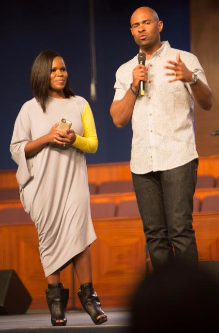 Myesha and Wayne Chaney on stage at Long Beach Gospel Festival 2015