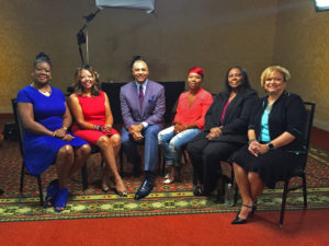 Ed Gordon talks with Mothers of The Movement in Ferguson, MO. Photo courtesy Bounce TV.