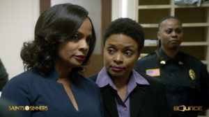 Lady Ella (Vanessa Bell Calloway), Mayor of Cypress, GA talks with Lt. Hawkins (Maria Howell) on Bounce TV's Saints & Sinners.