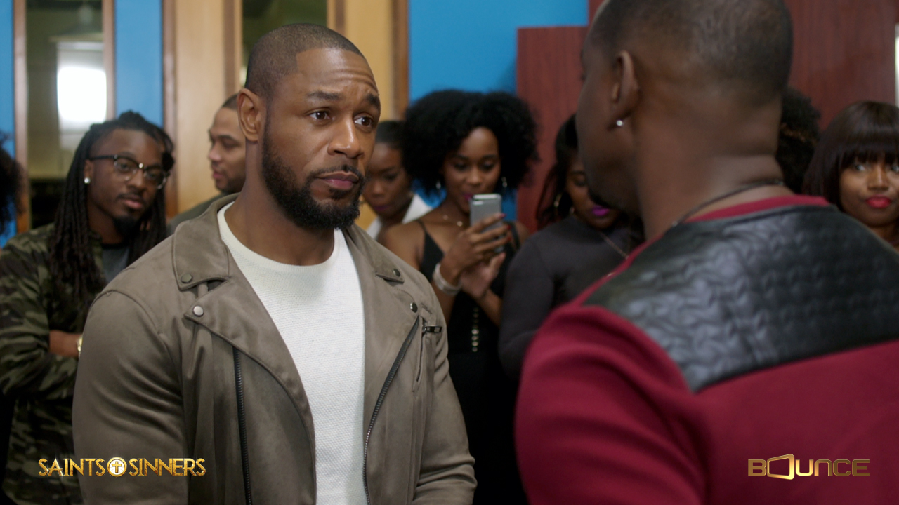 Tank talks with Miles Calloway (Keith Robinson) on Bounce Tv's drama series, Saints & Sinners