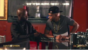 Characters Kendrick (Tray Chaney) and Jabari (J.D. Williams) in heated discussion on hit TV drama Saints & Sinners on Bounce TV.