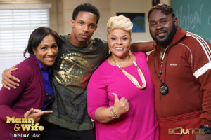 Cast members on set of Mann & Wife: Terri J. Vaughn, Demetrius Brides (special guest star), Tamela and David Mann. Photo courtesy of Bounce TV