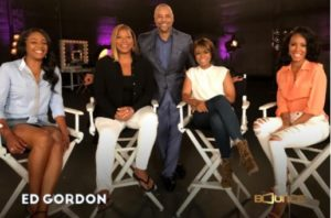 Ed Gordon, Bounce TV Host in Hollywood with the cast of film Girls Trip. (Left to Right) Tiffany Haddish, Queen Latifah, Ed Gordon, Regina Hall and Jada Pinkett Smith.