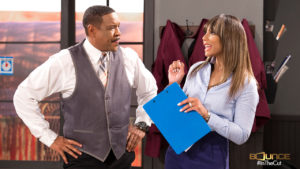 Star Dorien Wilson and guest star Tamar Braxton in a scene from In The Cut. Photo courtesy Bounce TV.
