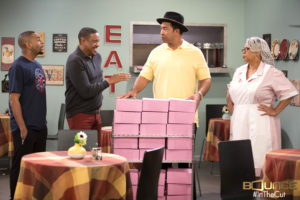 Photo of cast members Ken Lawson, Dorien Wilson, John Marshall Jones and Laura Hayes in a scene from Bounce TV's In The Cut. Photo courtesy of Bounce TV.
